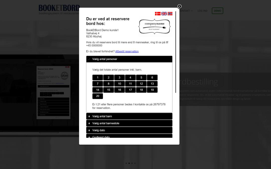 Indsæt Book et Bord på hjemmeside